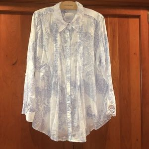Coldwater Creek Pintucked Blouse Plus 1X